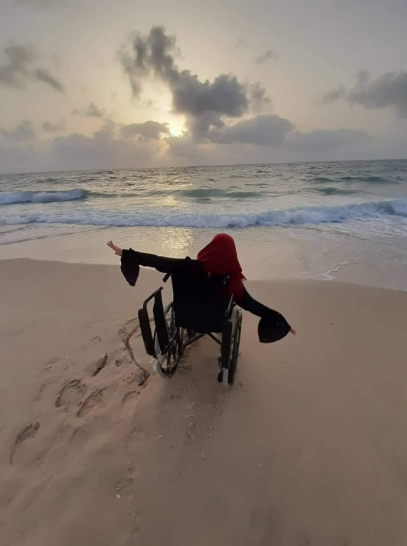 """Even though the sea and sand are inaccessible for my wheelchair, it still manages to make feel better, as a butterfly flying over the water but incapable of touching it."""