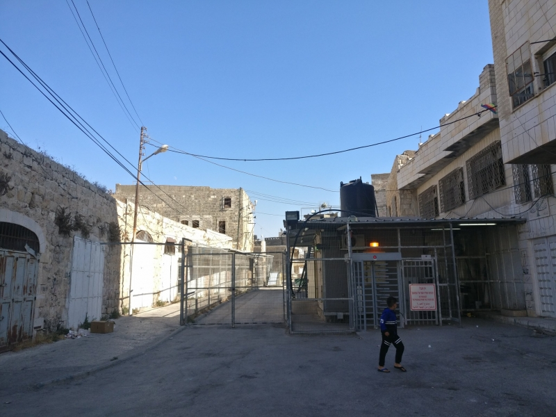 A checkpoint in the middle of the Palestinian city of Hebron