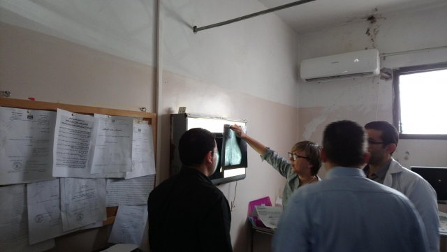 Reviewing breast imaging during an outpatient clinic at Rafidia hospital
