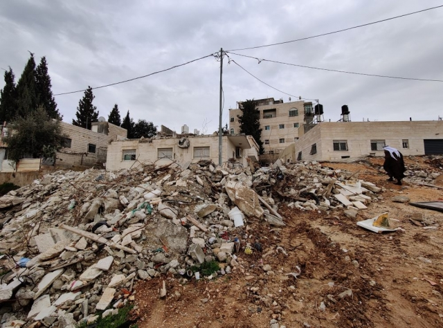 The rubble of a partially-demolished house in Issawiya, East Jerusalem