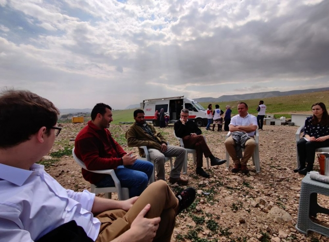 The MPs talk to a resident of Ras al Auja, a Bedouin community in the Jordan Valley